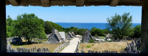 The English village seen from atop the meetinghouse at Plimoth Plantation