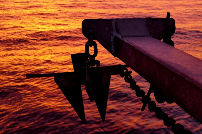 Anchor at sunset